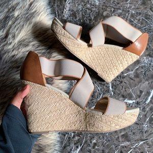 Size 11 Wedge Sandals Neutral Tone